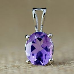 Natural Amethyst Pendant in Silver