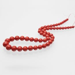 Natural Red Coral gemstone Beads String 14 Inches